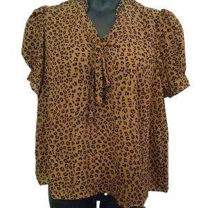 CeCe by Cynthia Steffe Ruffled Split Neck Leopard